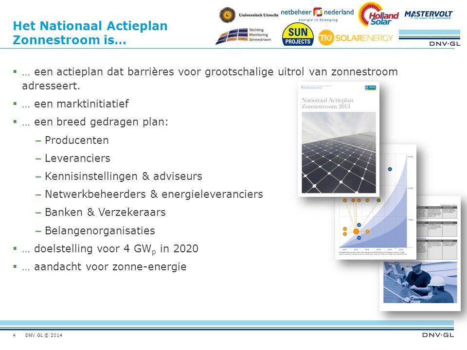 DNV GL © 2014 Het Nationaal Actieplan Zonnestroom is…  … een actieplan dat barrières voor grootschalige uitrol van zonnestroom adresseert.  … een ma
