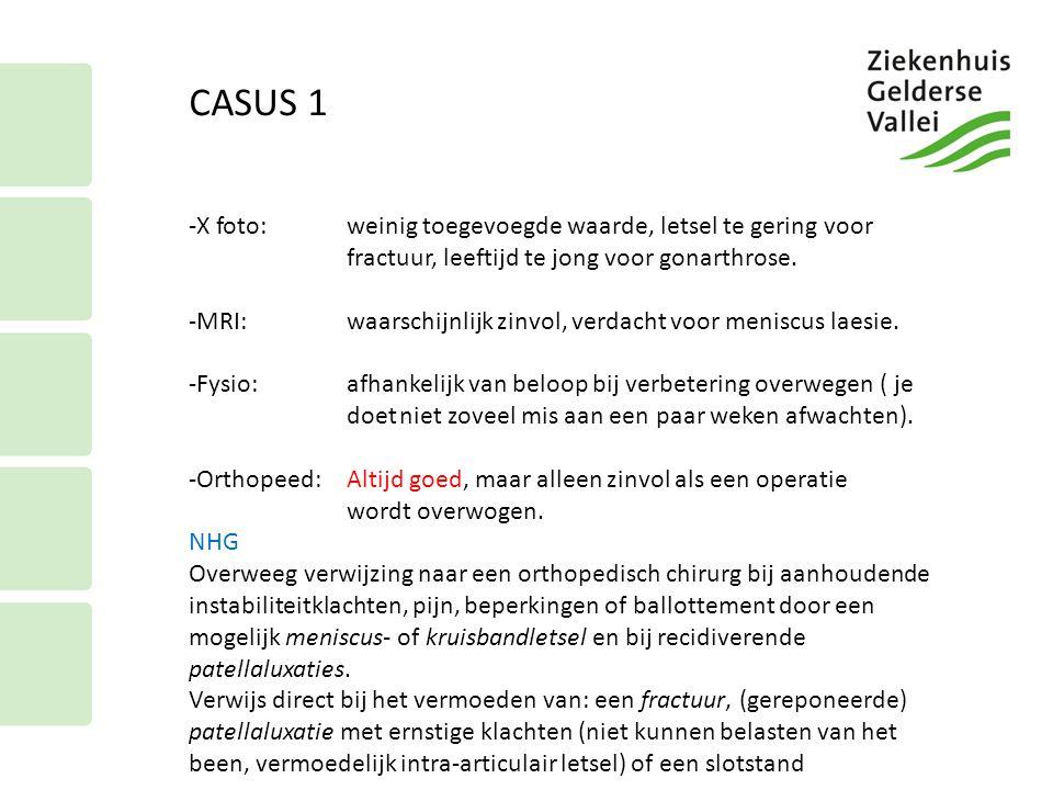 CASUS 1 -X foto:weinig toegevoegde waarde, letsel te gering voor fractuur, leeftijd te jong voor gonarthrose. -MRI:waarschijnlijk zinvol, verdacht voo