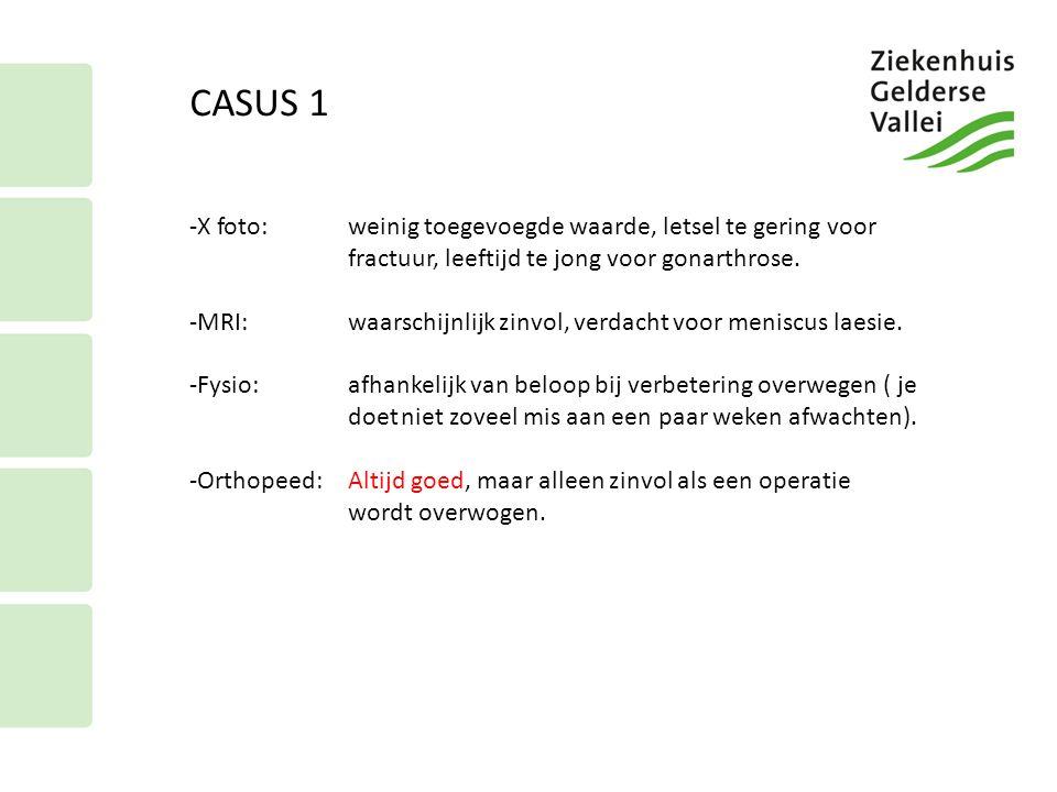 CASUS 2 Casus 2 65 jarige man, hardlopen 2keer /week 5 -7 km Na een misstap een pijn en zwelling in de R knie gekregen, pijn zit mn aan mediale kant, geen slotklachten, wel meer pijn bij max.
