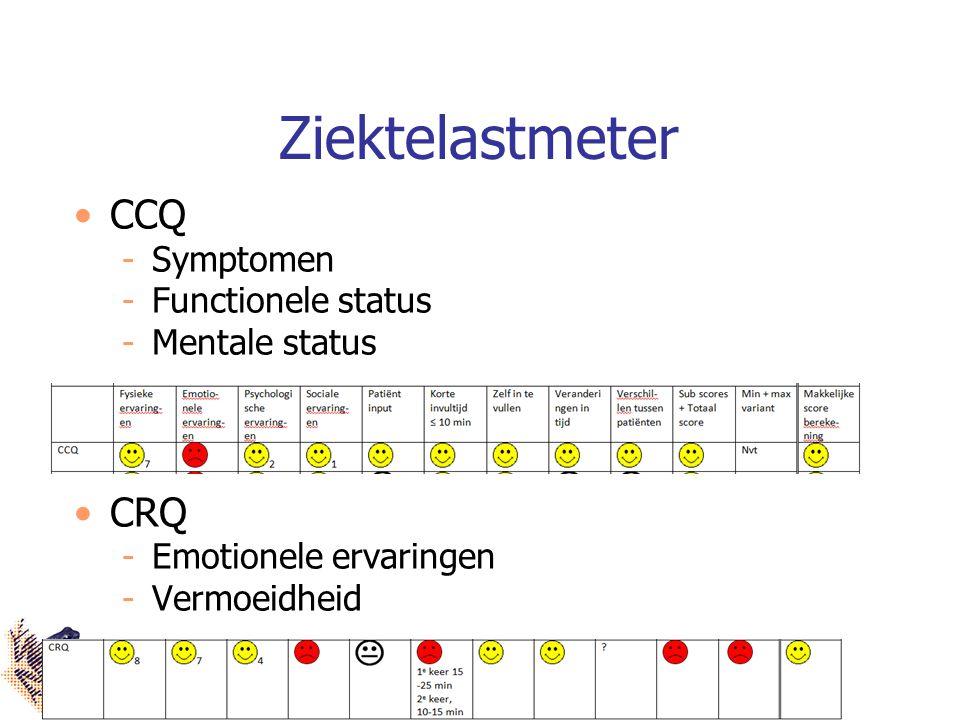 Ziektelastmeter CCQ Symptomen Functionele status Mentale status CRQ Emotionele ervaringen Vermoeidheid