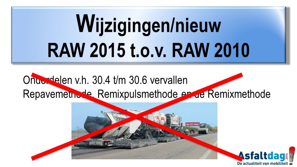 Onderdelen v.h. 30.4 t/m 30.6 vervallen Repavemethode, Remixpulsmethode en de Remixmethode W ijzigingen/nieuw RAW 2015 t.o.v. RAW 2010