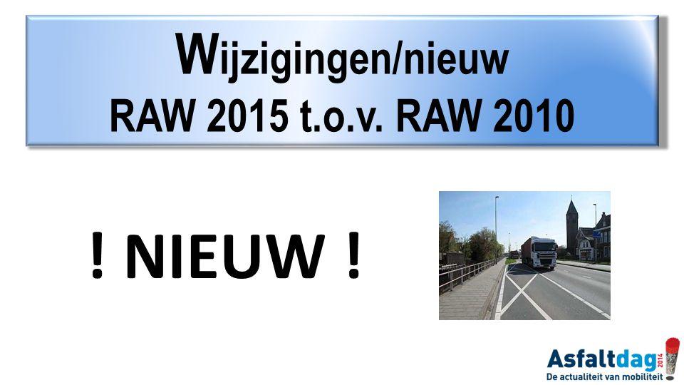 ! NIEUW ! W ijzigingen/nieuw RAW 2015 t.o.v. RAW 2010