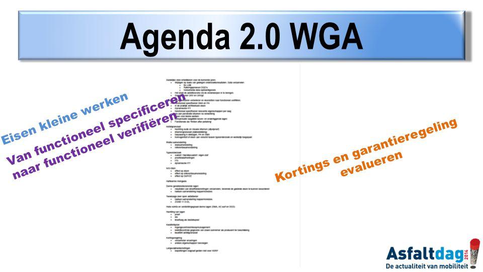Agenda 2.0 WGA Van functioneel specificeren naar functioneel verifiëren Eisen kleine werken Kortings en garantieregeling evalueren