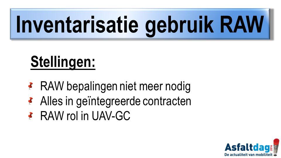 RAW bepalingen niet meer nodig Alles in geïntegreerde contracten RAW rol in UAV-GC Stellingen: