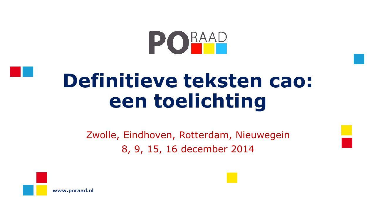 www.poraad.nl Pauze Artikel 2A.7 lid 4 Bij elke dag langer dan 5,5 uur is er recht op een half uur pauze Tussen 10:00-14:00u In overleg met de PMR mag de pauze worden gesplitst in 2 keer een kwartier De pauze moet de dag onderbreken Pauze is niet: pleindienst of eten met de kinderen