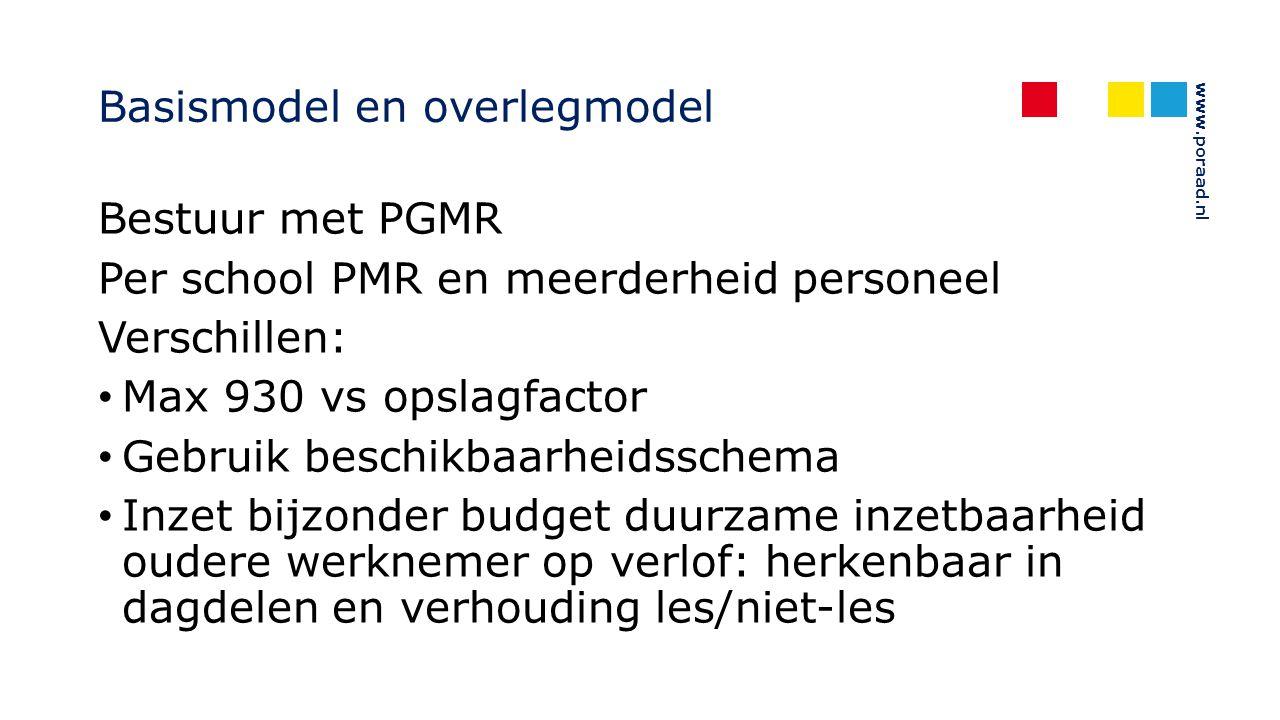 www.poraad.nl Basismodel en overlegmodel Bestuur met PGMR Per school PMR en meerderheid personeel Verschillen: Max 930 vs opslagfactor Gebruik beschik