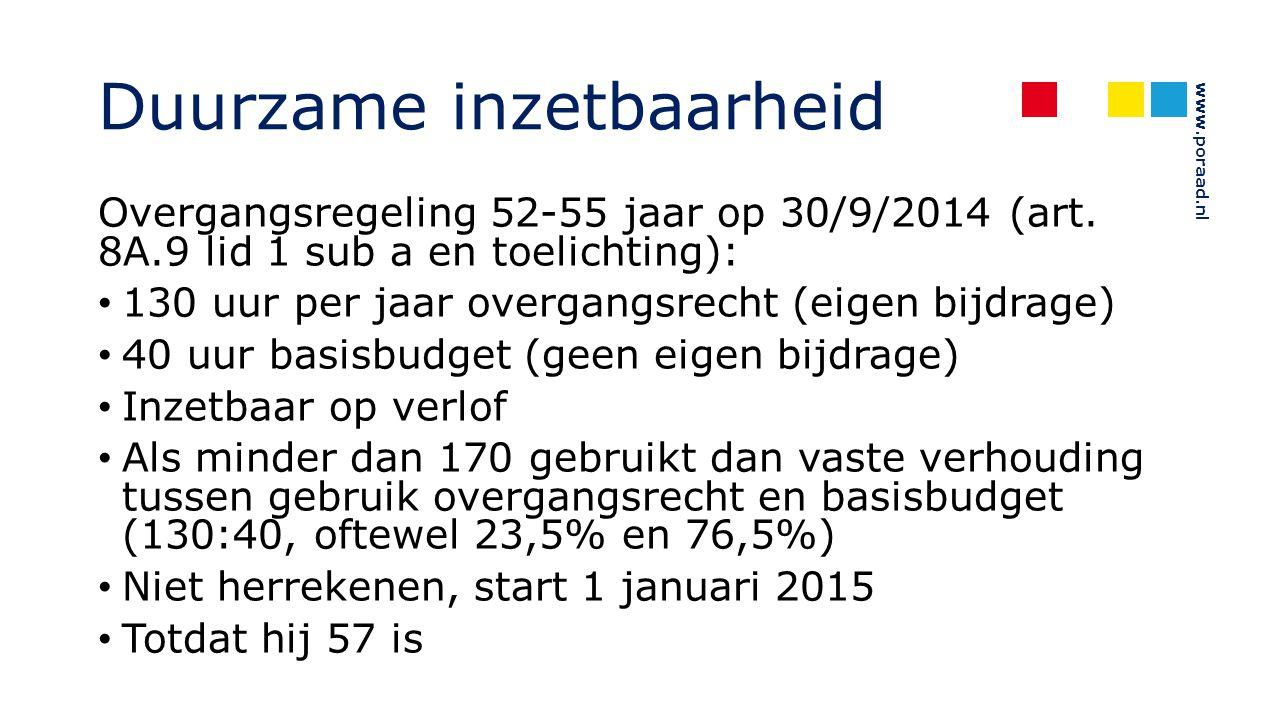 www.poraad.nl Duurzame inzetbaarheid Overgangsregeling 52-55 jaar op 30/9/2014 (art. 8A.9 lid 1 sub a en toelichting): 130 uur per jaar overgangsrecht