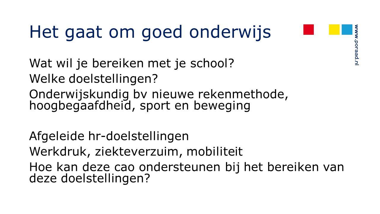 www.poraad.nl Het gaat om goed onderwijs Wat wil je bereiken met je school? Welke doelstellingen? Onderwijskundig bv nieuwe rekenmethode, hoogbegaafdh