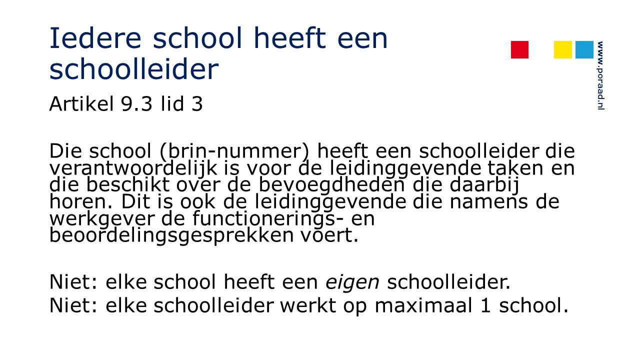 www.poraad.nl Iedere school heeft een schoolleider Artikel 9.3 lid 3 Die school (brin-nummer) heeft een schoolleider die verantwoordelijk is voor de l