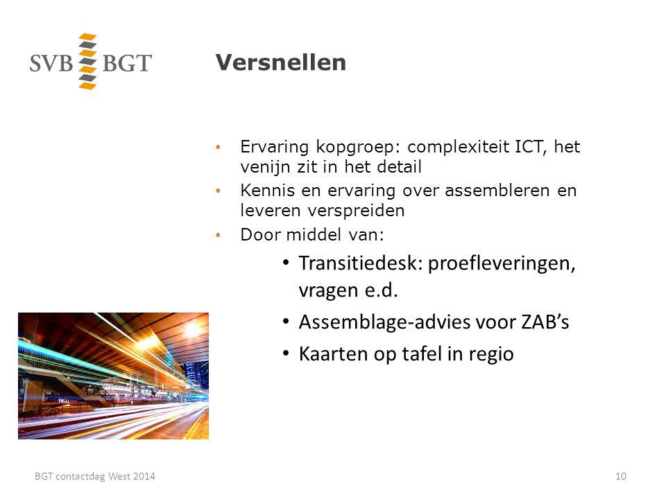 Versnellen Ervaring kopgroep: complexiteit ICT, het venijn zit in het detail Kennis en ervaring over assembleren en leveren verspreiden Door middel van: Transitiedesk: proefleveringen, vragen e.d.