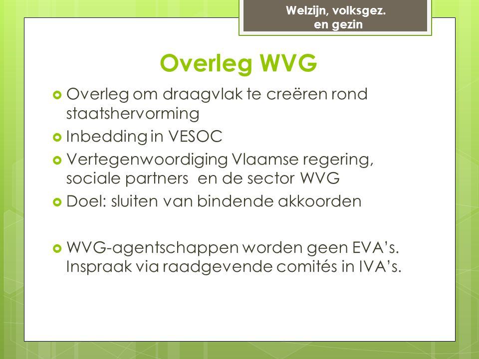 Overleg WVG  Overleg om draagvlak te creëren rond staatshervorming  Inbedding in VESOC  Vertegenwoordiging Vlaamse regering, sociale partners en de sector WVG  Doel: sluiten van bindende akkoorden  WVG-agentschappen worden geen EVA's.
