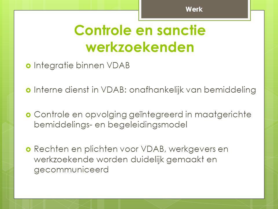 Controle en sanctie werkzoekenden  Integratie binnen VDAB  Interne dienst in VDAB: onafhankelijk van bemiddeling  Controle en opvolging geïntegreerd in maatgerichte bemiddelings- en begeleidingsmodel  Rechten en plichten voor VDAB, werkgevers en werkzoekende worden duidelijk gemaakt en gecommuniceerd Werk