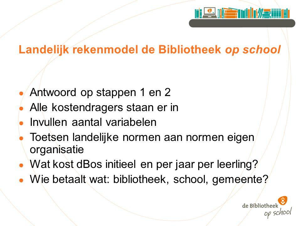 Landelijk rekenmodel de Bibliotheek op school ● Antwoord op stappen 1 en 2 ● Alle kostendragers staan er in ● Invullen aantal variabelen ● Toetsen lan