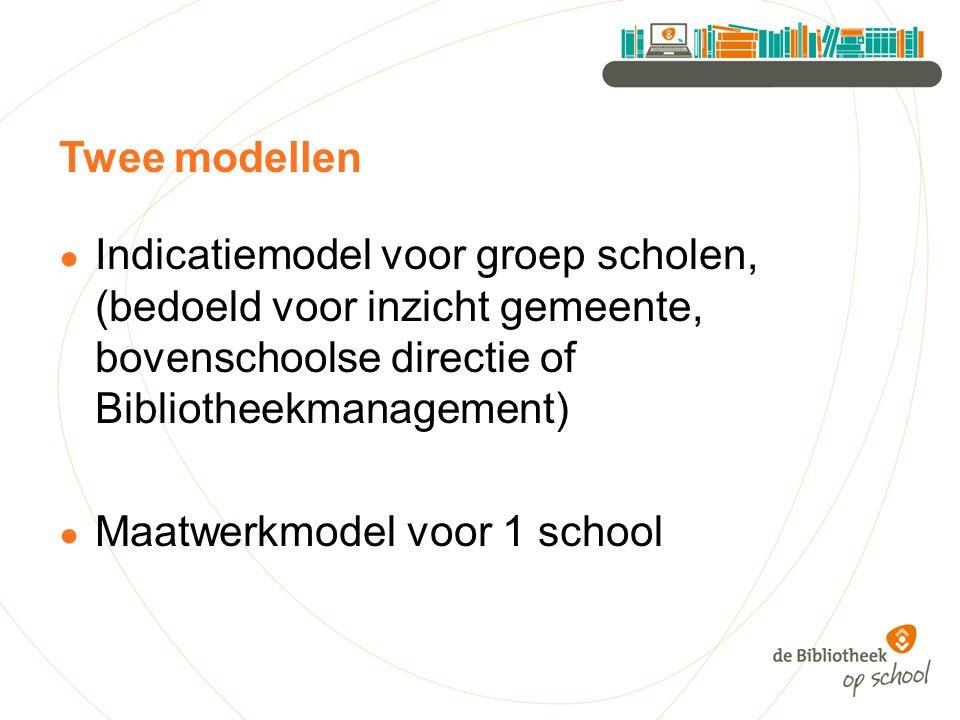 Twee modellen ● Indicatiemodel voor groep scholen, (bedoeld voor inzicht gemeente, bovenschoolse directie of Bibliotheekmanagement) ● Maatwerkmodel vo