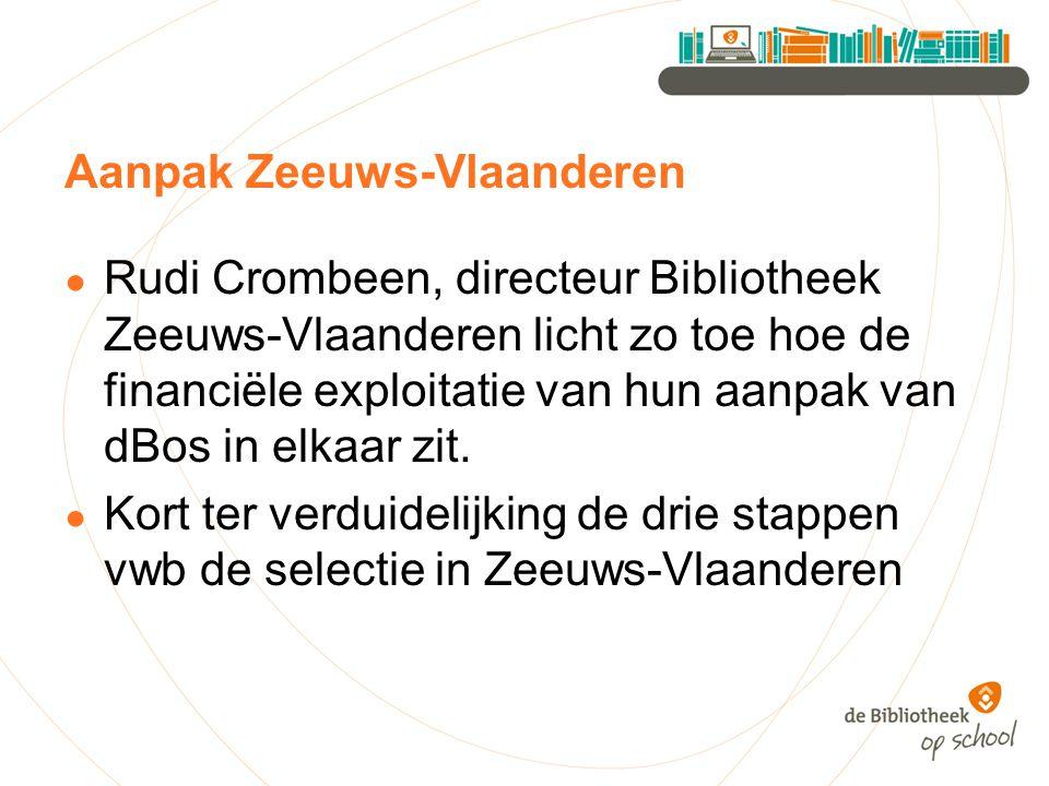 Aanpak Zeeuws-Vlaanderen ● Rudi Crombeen, directeur Bibliotheek Zeeuws-Vlaanderen licht zo toe hoe de financiële exploitatie van hun aanpak van dBos i
