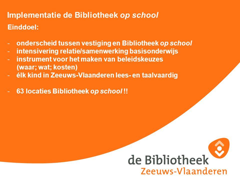 Implementatie de Bibliotheek op school Einddoel: -onderscheid tussen vestiging en Bibliotheek op school -intensivering relatie/samenwerking basisonder