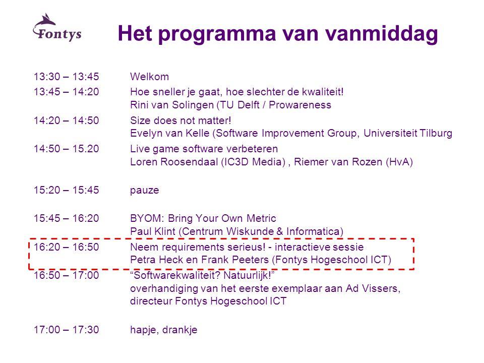 Het programma van vanmiddag 13:30 – 13:45Welkom 13:45 – 14:20Hoe sneller je gaat, hoe slechter de kwaliteit! Rini van Solingen (TU Delft / Prowareness