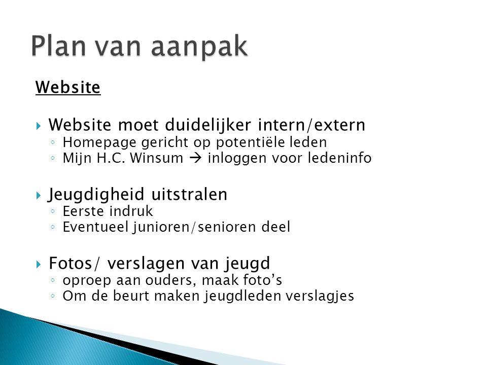 Website  Website moet duidelijker intern/extern ◦ Homepage gericht op potentiële leden ◦ Mijn H.C. Winsum  inloggen voor ledeninfo  Jeugdigheid uit