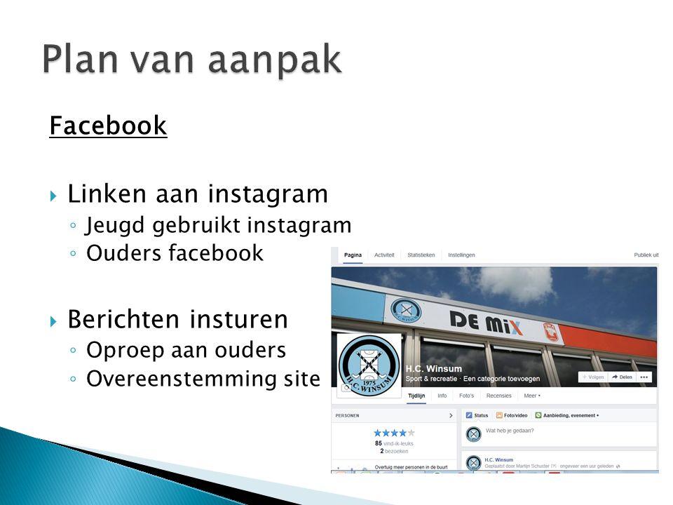 Facebook  Linken aan instagram ◦ Jeugd gebruikt instagram ◦ Ouders facebook  Berichten insturen ◦ Oproep aan ouders ◦ Overeenstemming site