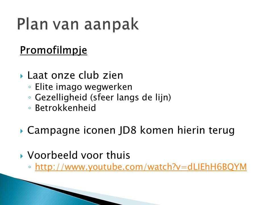 Promofilmpje  Laat onze club zien ◦ Elite imago wegwerken ◦ Gezelligheid (sfeer langs de lijn) ◦ Betrokkenheid  Campagne iconen JD8 komen hierin ter