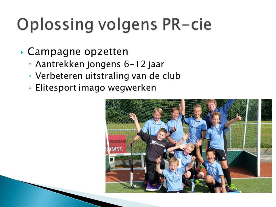  Campagne opzetten ◦ Aantrekken jongens 6-12 jaar ◦ Verbeteren uitstraling van de club ◦ Elitesport imago wegwerken