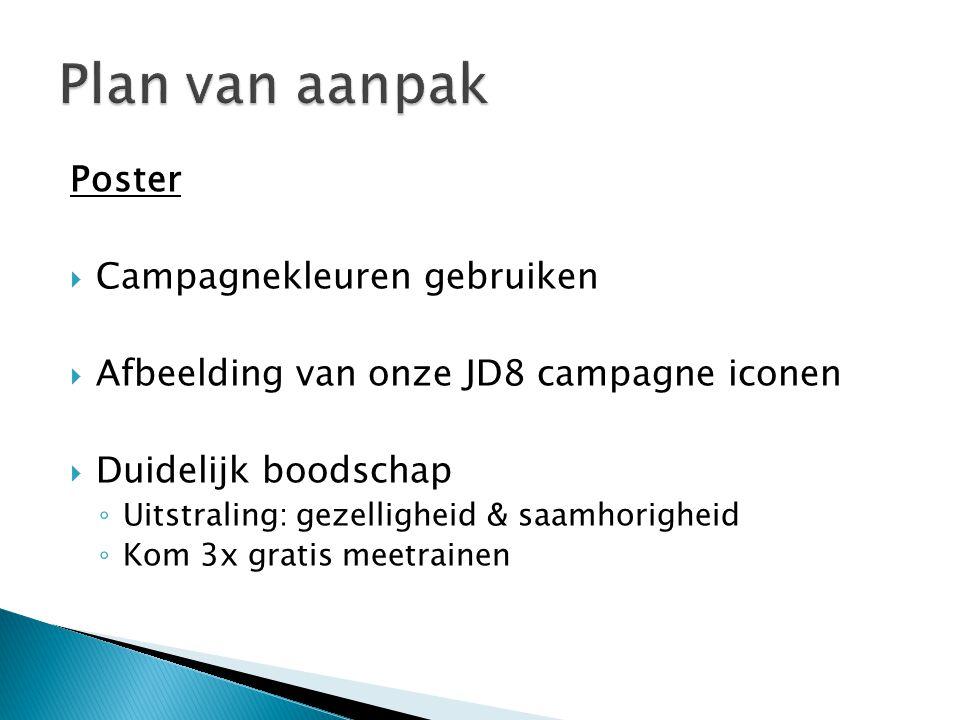 Poster  Campagnekleuren gebruiken  Afbeelding van onze JD8 campagne iconen  Duidelijk boodschap ◦ Uitstraling: gezelligheid & saamhorigheid ◦ Kom 3