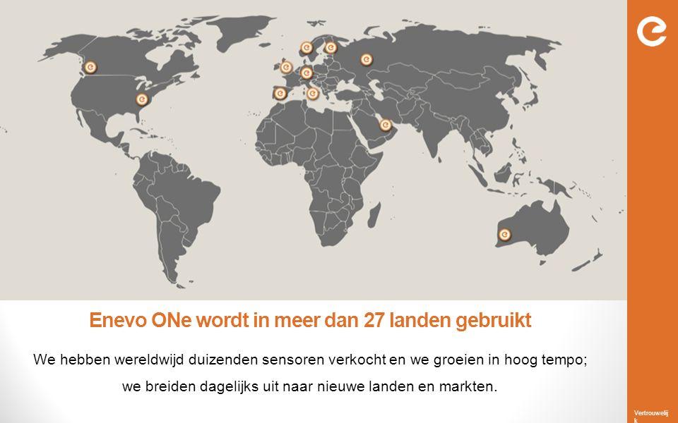 Vertrouwelij k Enevo ONe wordt in meer dan 27 landen gebruikt We hebben wereldwijd duizenden sensoren verkocht en we groeien in hoog tempo; we breiden