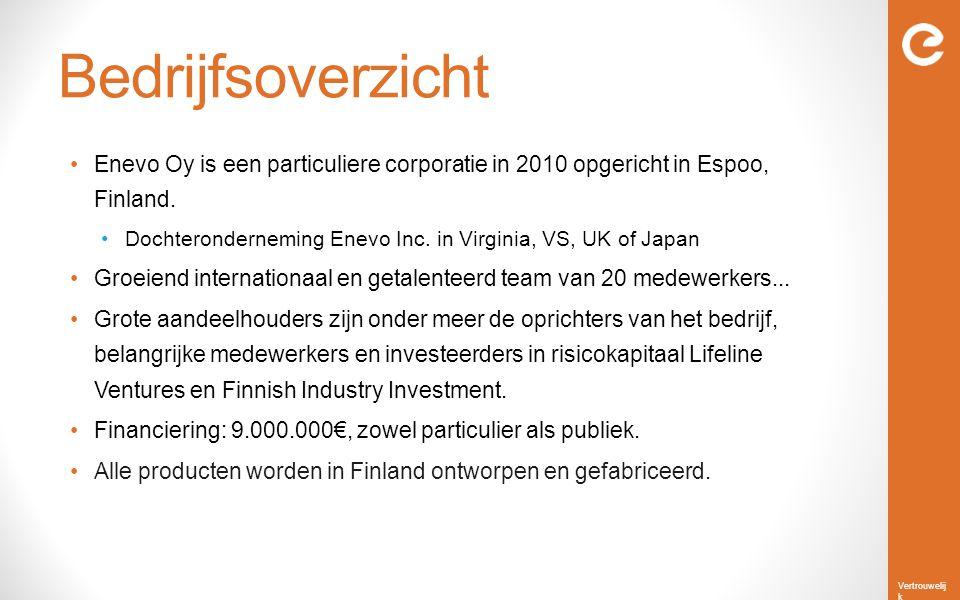 Vertrouwelij k Bedrijfsoverzicht Enevo Oy is een particuliere corporatie in 2010 opgericht in Espoo, Finland. Dochteronderneming Enevo Inc. in Virgini