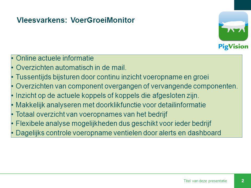 Titel van deze presentatie 2 Vleesvarkens: VoerGroeiMonitor Online actuele informatie Overzichten automatisch in de mail. Tussentijds bijsturen door c