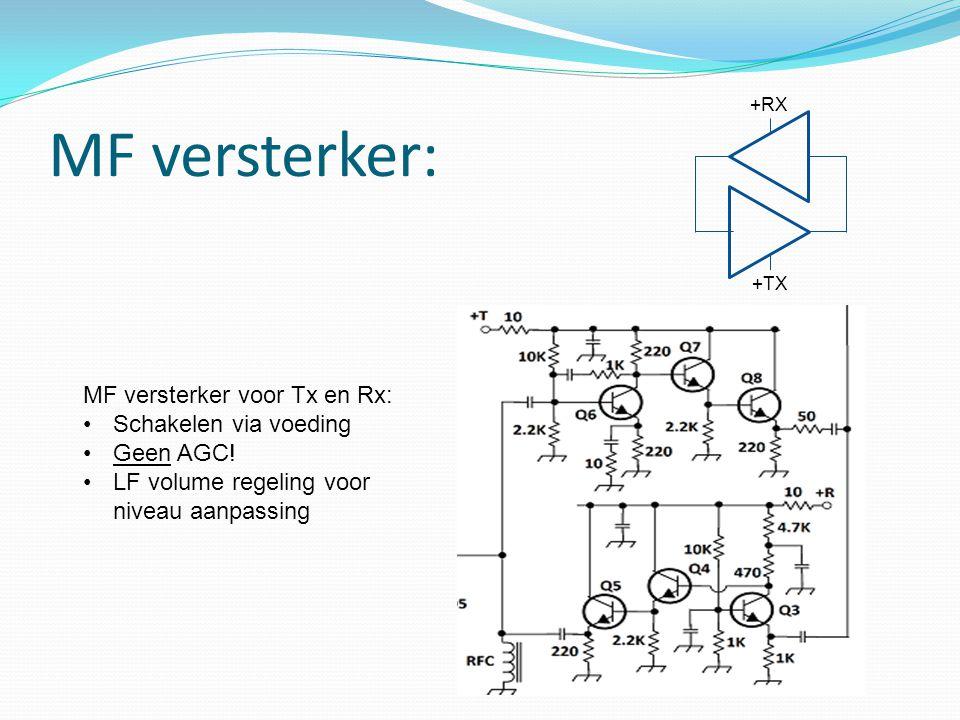 MF versterker: MF versterker voor Tx en Rx: Schakelen via voeding Geen AGC! LF volume regeling voor niveau aanpassing +TX +RX
