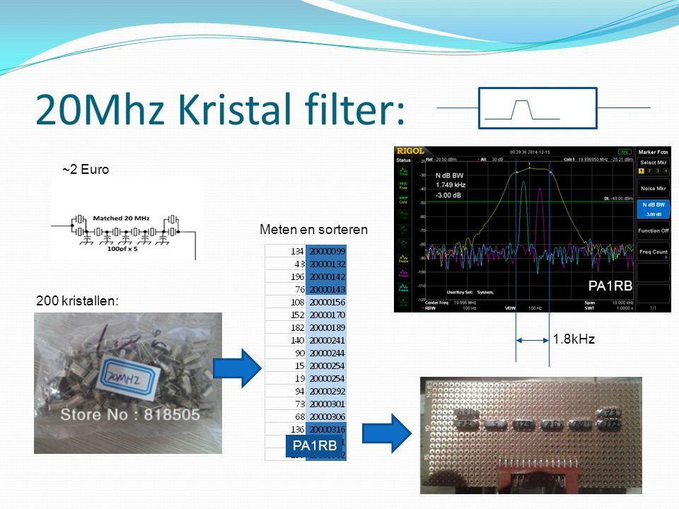20Mhz Kristal filter: 1.8kHz ~2 Euro 200 kristallen: Meten en sorteren PA1RB