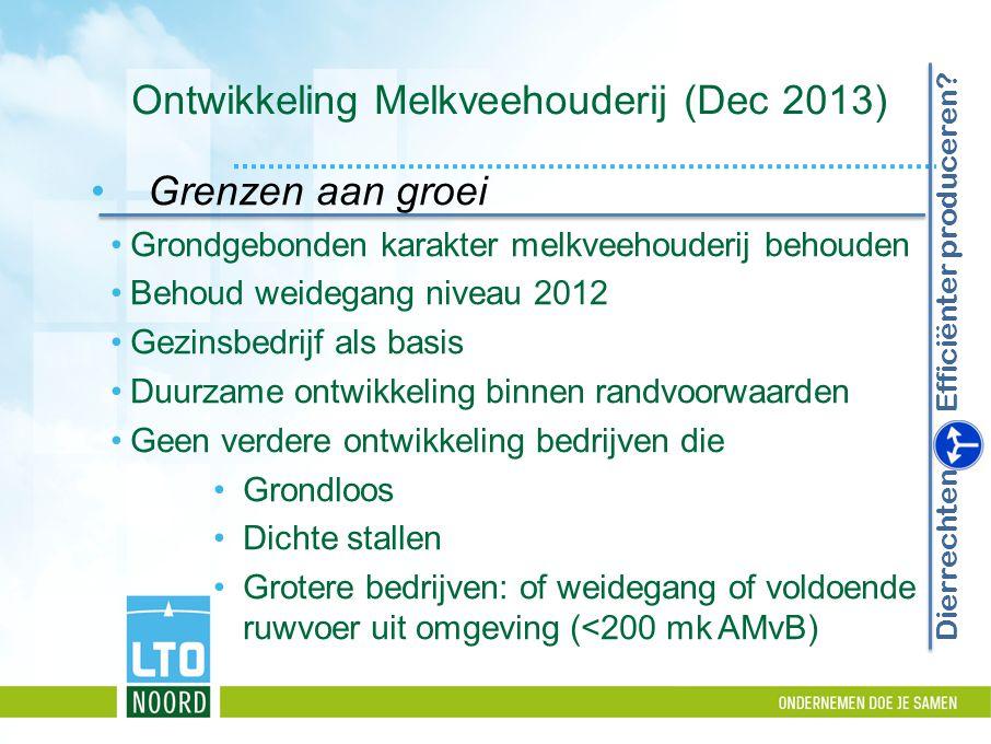 Ontwikkeling Melkveehouderij (Dec 2013) Grenzen aan groei Grondgebonden karakter melkveehouderij behouden Behoud weidegang niveau 2012 Gezinsbedrijf a