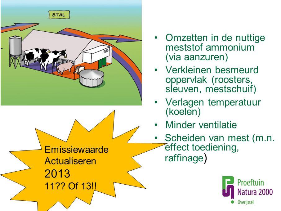 Omzetten in de nuttige meststof ammonium (via aanzuren) Verkleinen besmeurd oppervlak (roosters, sleuven, mestschuif) Verlagen temperatuur (koelen) Mi
