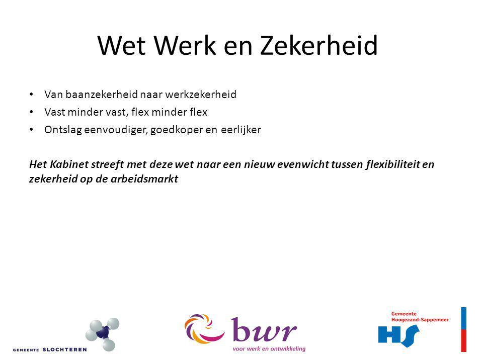 Ontslagrecht (7) Transitievergoeding – uitzonderingen Niet van toepassing: - opzegging/beëindiging door werknemer - scholieren met bijbaan: <18 jr en <12 uur - faillissement - ontslag vanwege AOW/pensioen - ernstig verwijtbaar handelen werknemer Afwijkingen: - MKB (<25 wn) en bij ontslag: dienstverband slechts meetellen vanaf 1/5/2013 - bij cao, mits gelijkwaardige voorziening In mindering: kosten investering in duurzame inzetbaarheid, scholing gericht op brede inzetbaarheid
