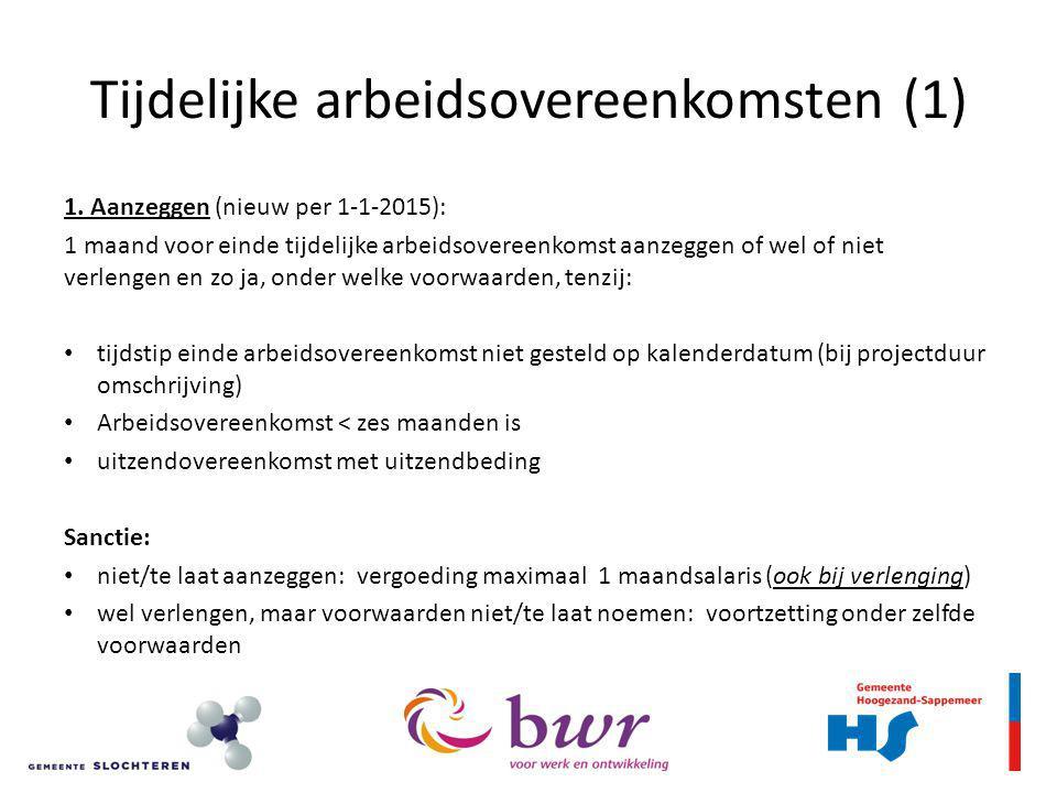 Tijdelijke arbeidsovereenkomsten (1) 1.