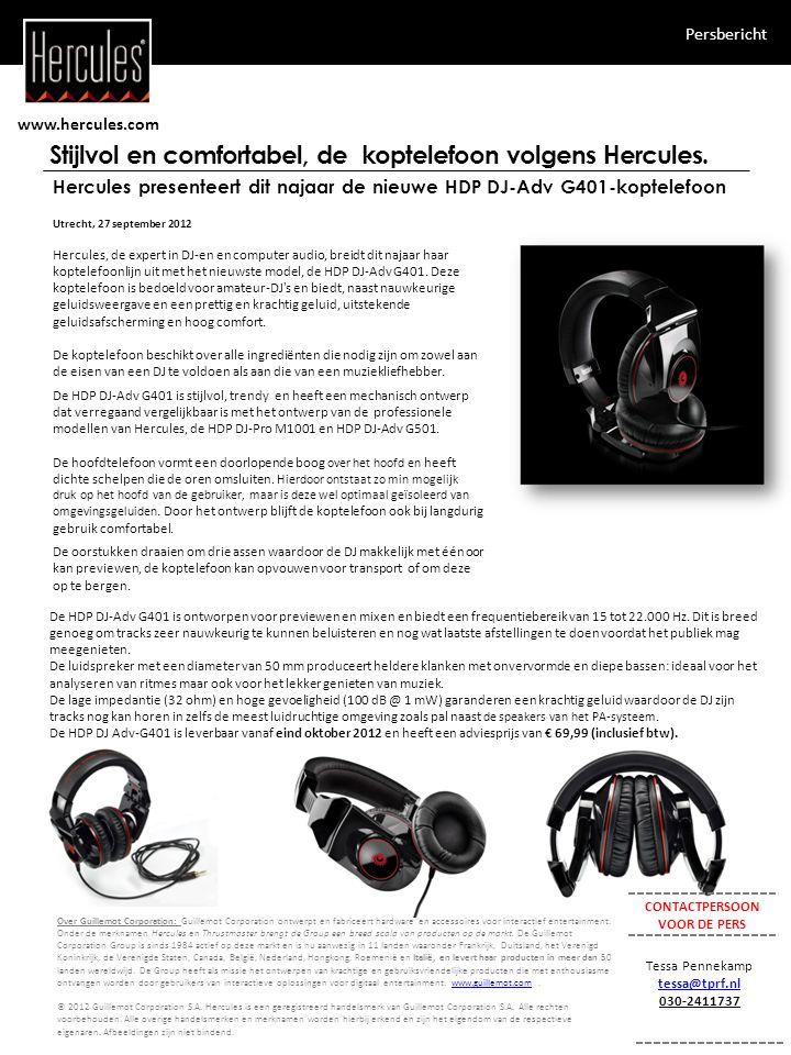 www.hercules.com Persbericht Stijlvol en comfortabel, de koptelefoon volgens Hercules.