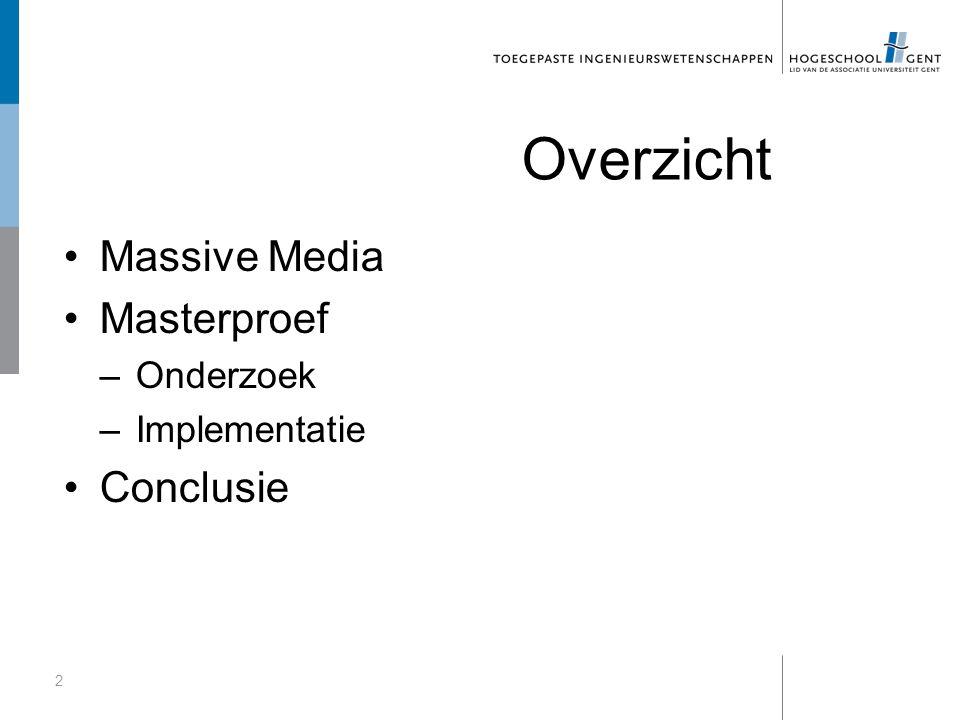 Overzicht Massive Media Masterproef –Onderzoek –Implementatie Conclusie 2