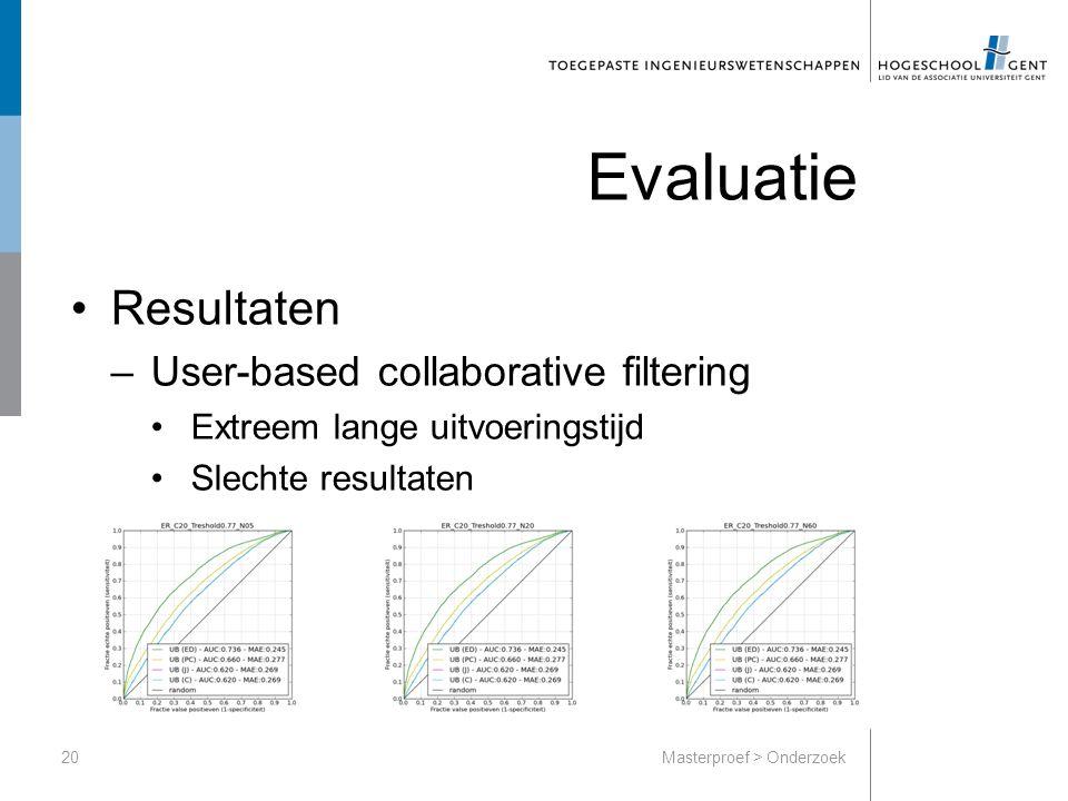 Evaluatie Resultaten –User-based collaborative filtering Extreem lange uitvoeringstijd Slechte resultaten 20Masterproef > Onderzoek