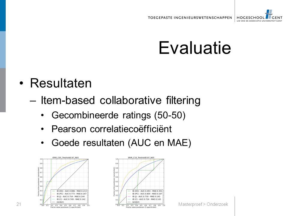 Evaluatie Resultaten –Item-based collaborative filtering Gecombineerde ratings (50-50) Pearson correlatiecoëfficiënt Goede resultaten (AUC en MAE) 21Masterproef > Onderzoek
