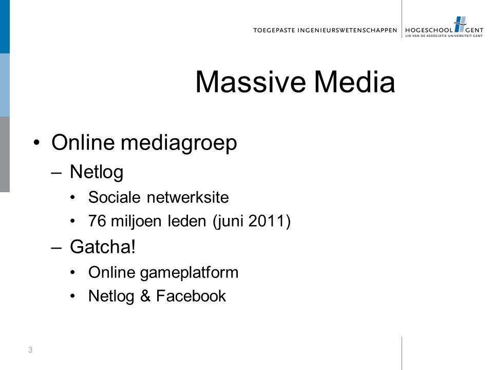 Massive Media Online mediagroep –Netlog Sociale netwerksite 76 miljoen leden (juni 2011) –Gatcha! Online gameplatform Netlog & Facebook 3