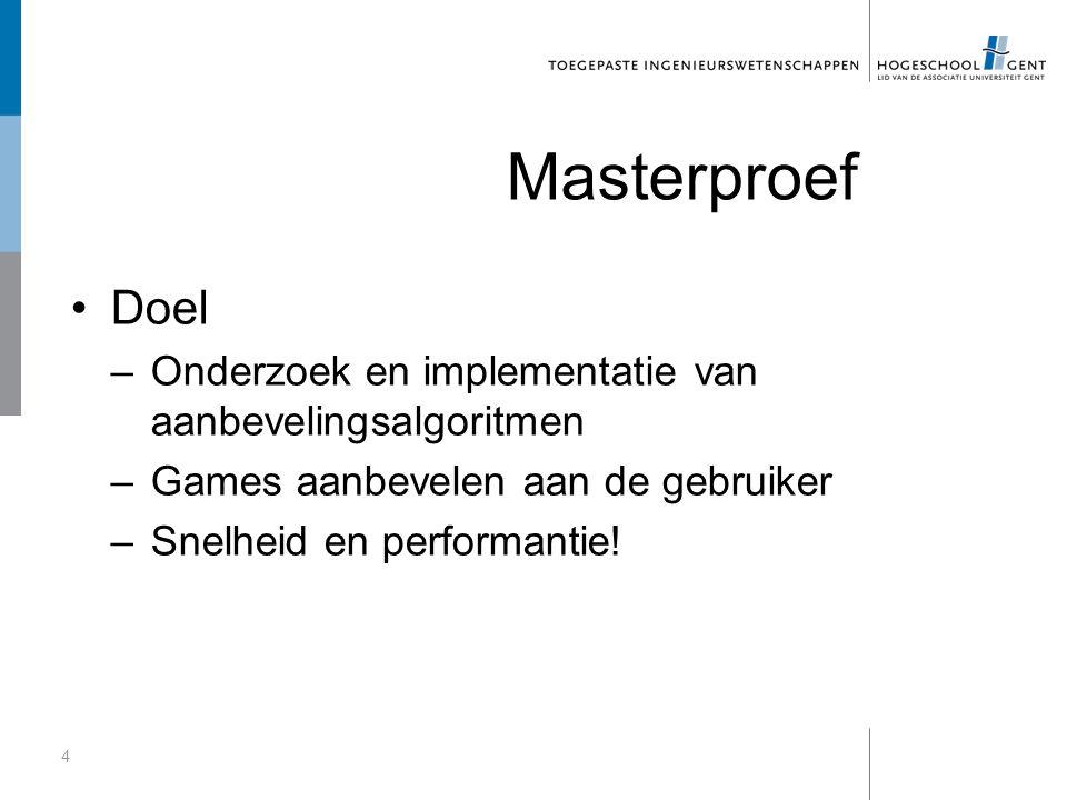Masterproef Doel –Onderzoek en implementatie van aanbevelingsalgoritmen –Games aanbevelen aan de gebruiker –Snelheid en performantie.