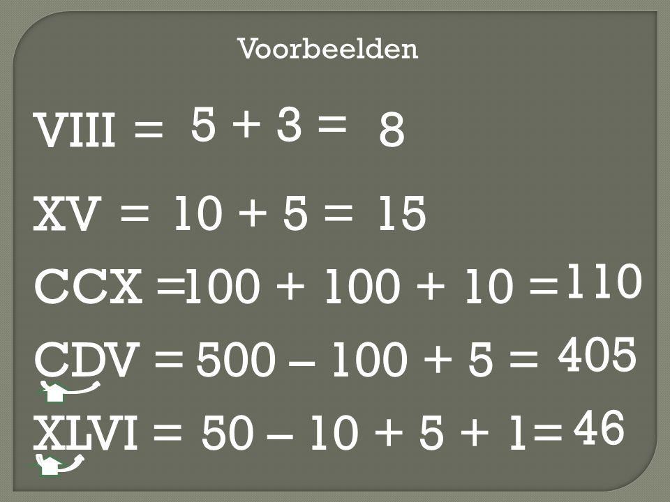 VIII = Voorbeelden 5 + 3 = 8 XV = 10 + 5 =15 CCX =100 + 100 + 10 = 110 CDV =500 – 100 + 5 = 405 XLVI =50 – 10 + 5 + 1= 46
