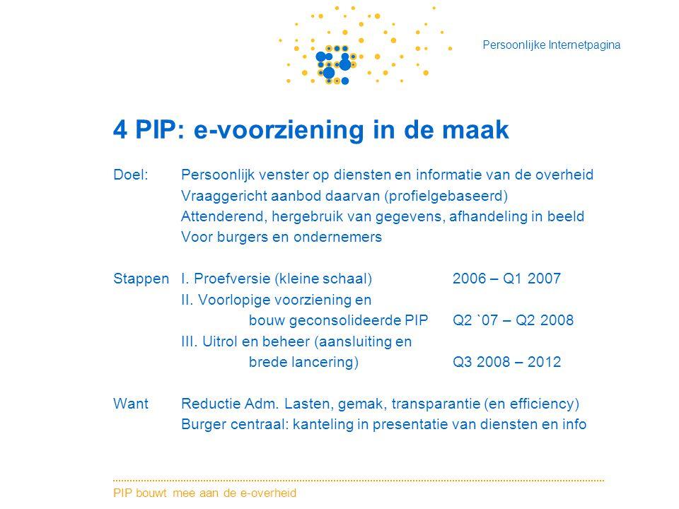 PIP bouwt mee aan de e-overheid Persoonlijke Internetpagina 4 PIP: e-voorziening in de maak Doel: Persoonlijk venster op diensten en informatie van de