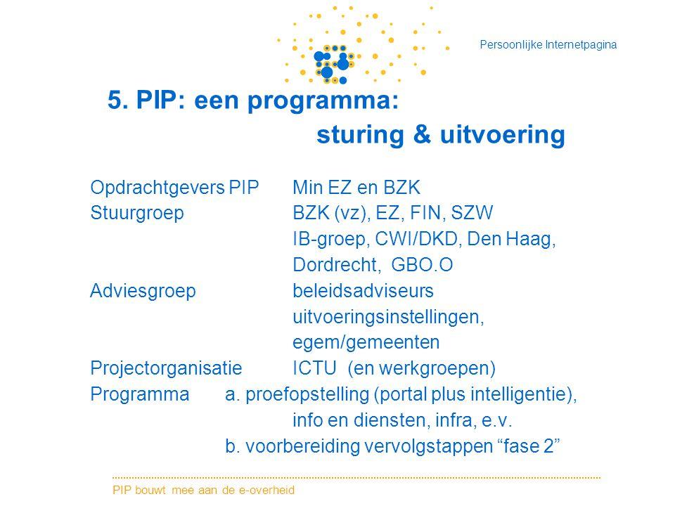 PIP bouwt mee aan de e-overheid Persoonlijke Internetpagina 5. PIP: een programma: sturing & uitvoering Opdrachtgevers PIPMin EZ en BZK StuurgroepBZK