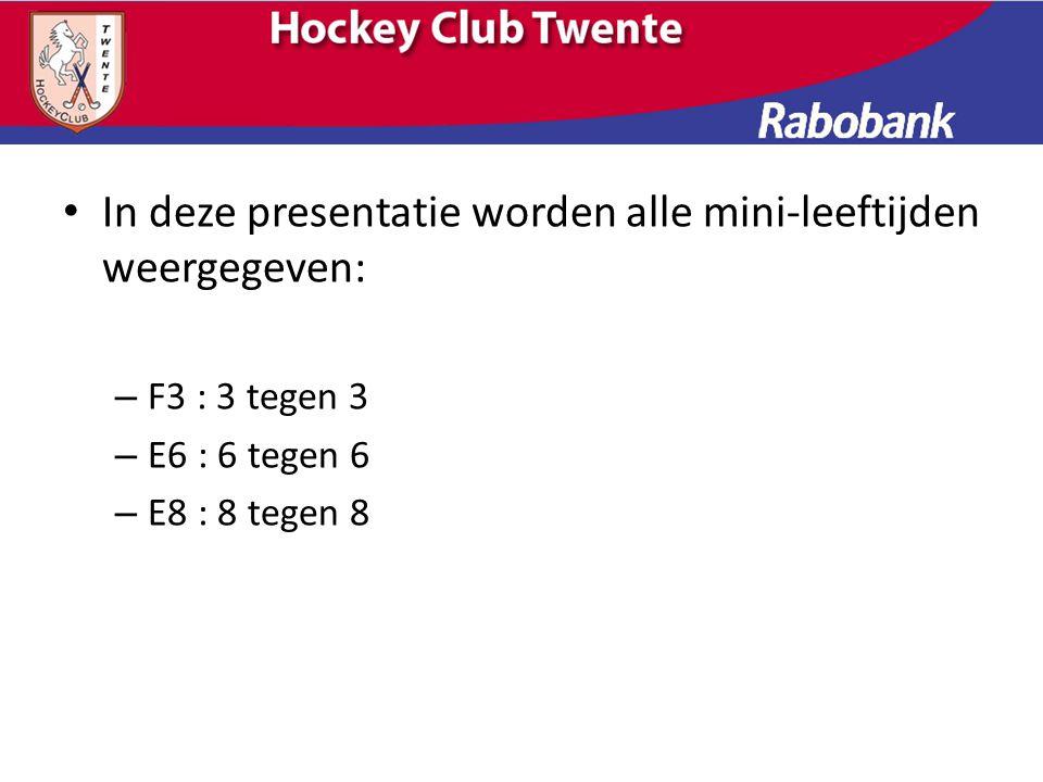 In deze presentatie worden alle mini-leeftijden weergegeven: – F3 : 3 tegen 3 – E6 : 6 tegen 6 – E8 : 8 tegen 8