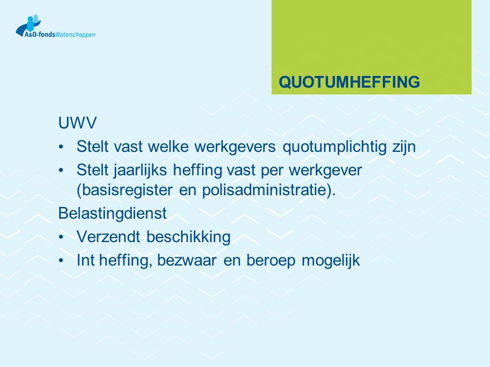 QUOTUMHEFFING UWV Stelt vast welke werkgevers quotumplichtig zijn Stelt jaarlijks heffing vast per werkgever (basisregister en polisadministratie). Be