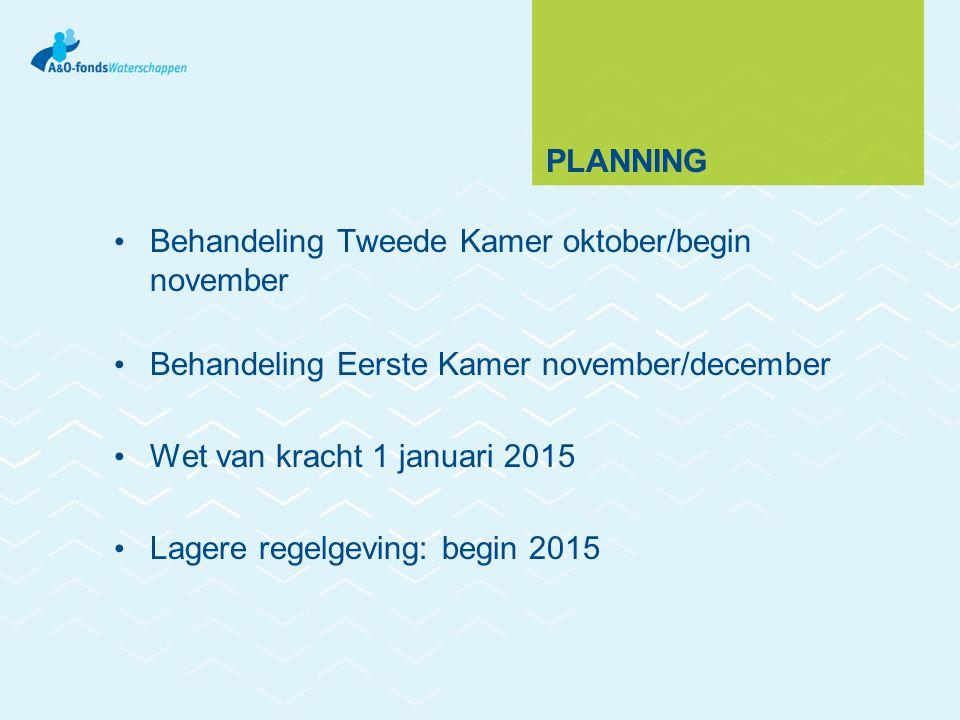 PLANNING Behandeling Tweede Kamer oktober/begin november Behandeling Eerste Kamer november/december Wet van kracht 1 januari 2015 Lagere regelgeving: