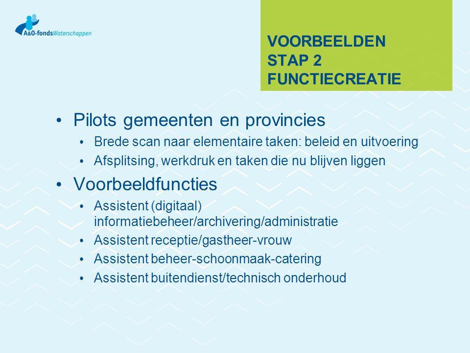 VOORBEELDEN STAP 2 FUNCTIECREATIE Pilots gemeenten en provincies Brede scan naar elementaire taken: beleid en uitvoering Afsplitsing, werkdruk en take