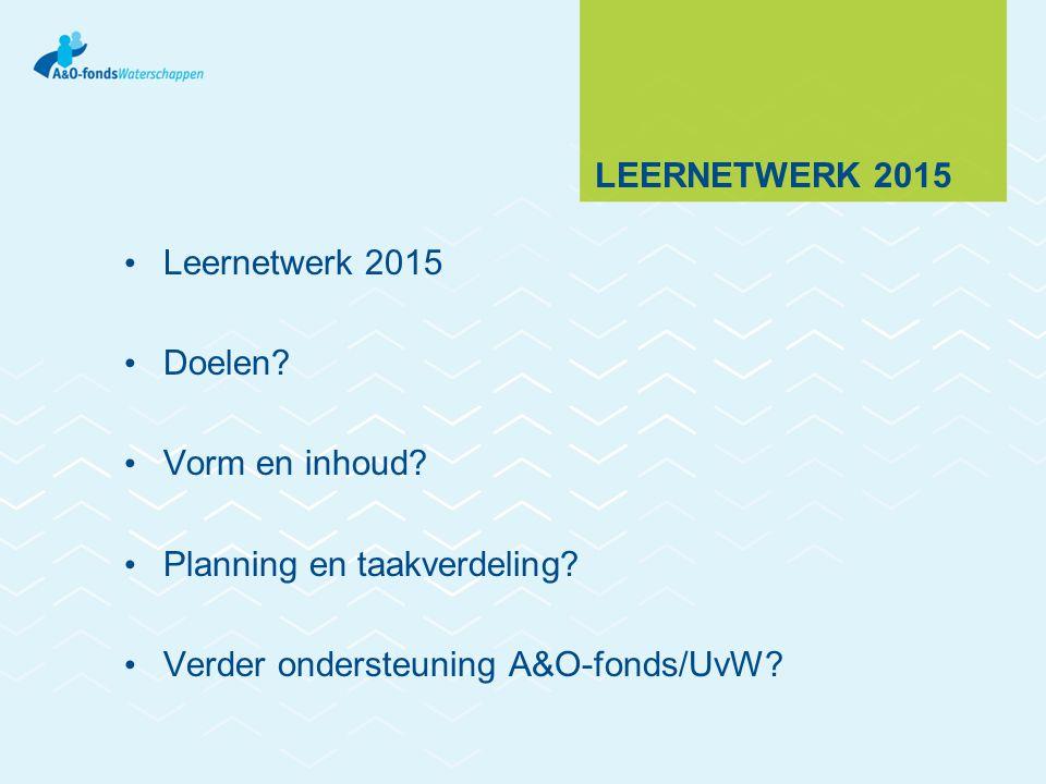 LEERNETWERK 2015 Leernetwerk 2015 Doelen? Vorm en inhoud? Planning en taakverdeling? Verder ondersteuning A&O-fonds/UvW?