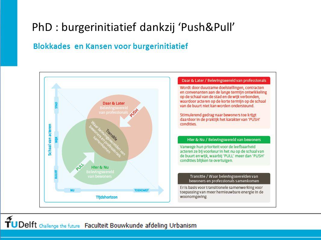 PhD : burgerinitiatief dankzij 'Push&Pull' Blokkades en Kansen voor burgerinitiatief